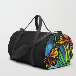 Beautiful Monarch Butterflies Fluttering Over Palm Fronds by annmariescreations Duffle Bag