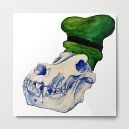 Dog Skull with a Hat Metal Print
