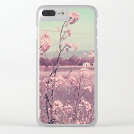 Sweet Spring (Teal Sky, Soft Pink Wildflowers, Rural Cottage) Clear iPhone Case