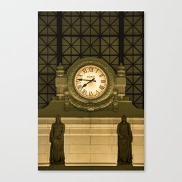 Ancient Clock in the train station Canvas Print