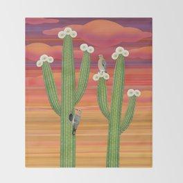 gila woodpeckers on saguaro cactus Throw Blanket