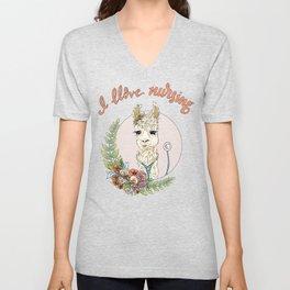 I Llove Nursing Llama Unisex V-Neck