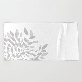 armonia 2 gray leaves Beach Towel