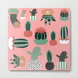 Succulents Pink Metal Print