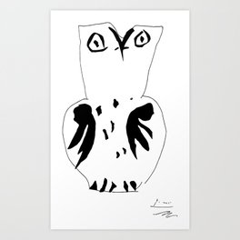 The Owl, Pablo PIcasso sketch drawing, line Design Art Print