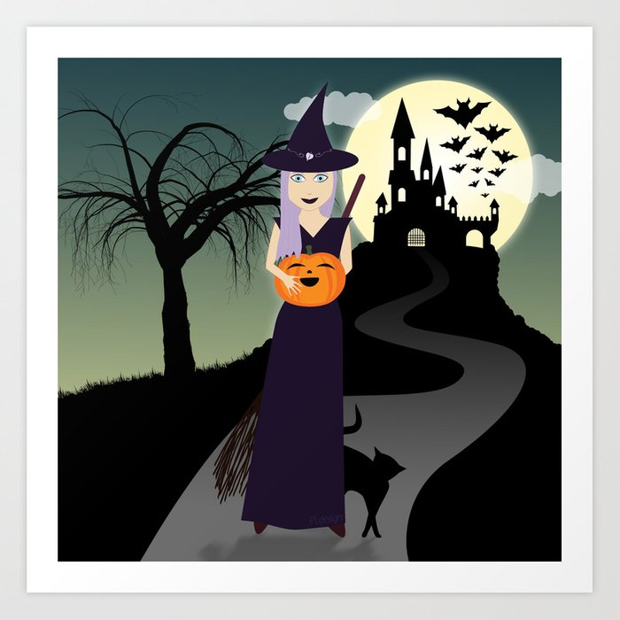 Cute Halloween Witch With Happy Pumpkin And Black Cat Art Print