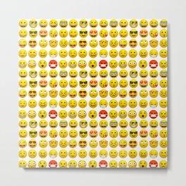 Yellow smile emoticon emoji pattern 2 Metal Print