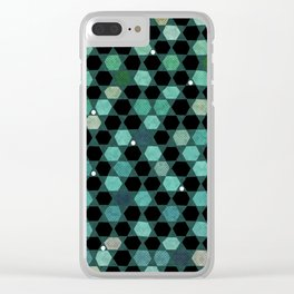 Abstract hexagon retro geometric pattern Clear iPhone Case