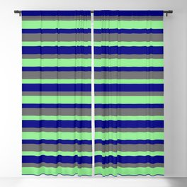 Dim Grey, Light Green & Blue Colored Pattern of Stripes Blackout Curtain