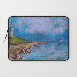 landscape with lighthouse and beach by oil pastel Laptop Sleeve
