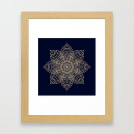 Golden star, mandala Framed Art Print