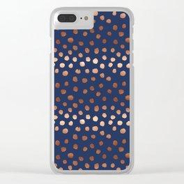 Rose Gold navy polka dot painted metallic pattern basic minimal pattern print Clear iPhone Case