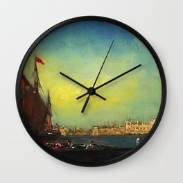 Flower Sellers at Carnival, Venice, Italy nautical landscape painting by Felix Ziem Wall Clock