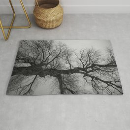 Nature Photography Weeping Willow | Lungs of the Earth | Black and White Rug
