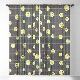 Colorful Smiley Emoji 4 - black Sheer Curtain