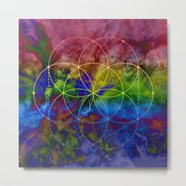 Psychedelic Seed of Life Metal Print