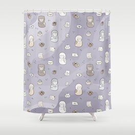Owl Post Pattern - Lavender Watercolor Shower Curtain