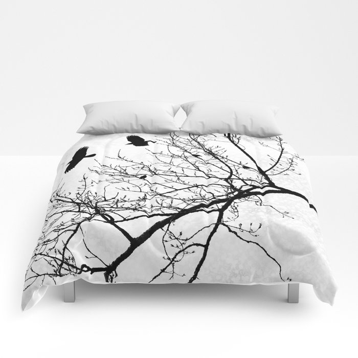 Crows Flying Birds in Tree Branches Black on White Comforters