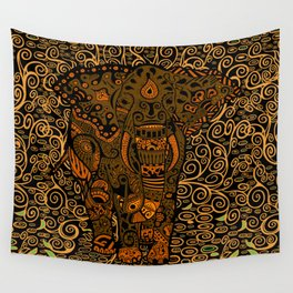 Aztec Elephant With Floral Pattern Wall Tapestry