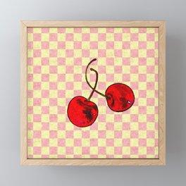Two Red Cherries Framed Mini Art Print