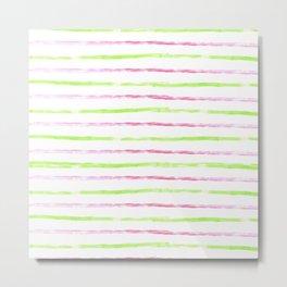 Modern lime green pink watercolor watermelon stripes Metal Print