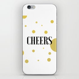 POP FIZZ CLINK Black And Gold Party Decorations Champagne Gift Champagne Quotes Cheers Sign Printabl iPhone Skin