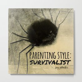 Smiling Spider: Parenting Style Survivalist Metal Print