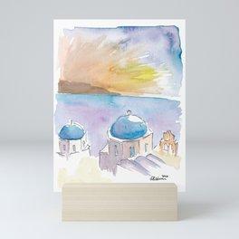 Santorini Blue Domes in Greece Mini Art Print