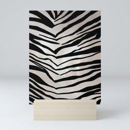 Safari Striped Zebra Pattern, Animal Print, Black, White, Gray Mini Art Print