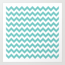 Aqua Chevron Art Print