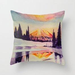 Winter Wonderland in Mount Rainer Throw Pillow