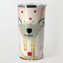 Bear 2018 polka Dots North Pole Snowing Stars Beige Cream Travel Mug