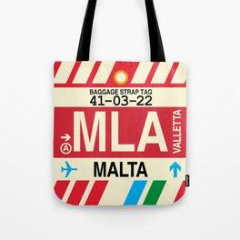 MLA Malta • Airport Code and Vintage Baggage Tag Design Tote Bag