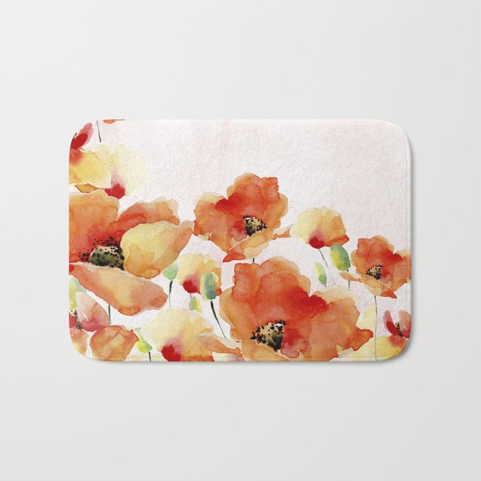 Beautiful Poppies #society6 Bath Mat