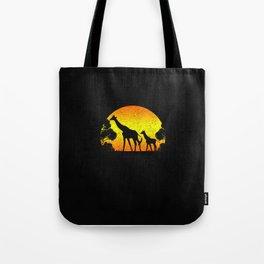 Funny Vintage Giraffe Silhouette Retro Sunset Gift Idea Tote Bag