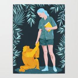 Jane and Fifi - Jane Goodall tribute illustration Poster