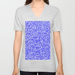 Tiny Spots - White and Blue Unisex V-Neck