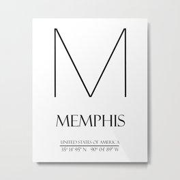 MEMPHIS City GPS Coordinates Metal Print