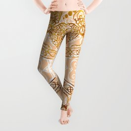 Bees Golden Mandala and Peach Leggings