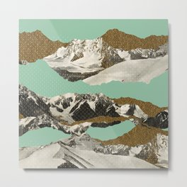 Golden Zugspitze Square / Turquoise Metal Print
