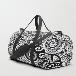 Mushy Madness doodle art Black and White Duffle Bag