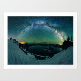 Galactic Rainbow over Crater Lake Art Print