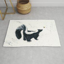 Curious Skunk - animal watercolor painting Rug