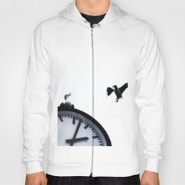 Two seagulls and street clock on a white background Hoody