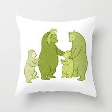 Bear family of Five Throw Pillow