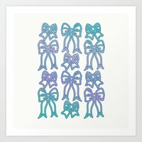 bows Art Prints featuring Bows by Jessica's Illustrationart