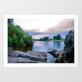 Long Exposure Photo of The River Tay in Perth Scotland Art Print