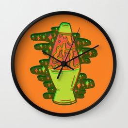 Lit lava lamp in orange in 3D Wall Clock