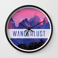 wanderlust Wall Clocks featuring Wanderlust by snaticky