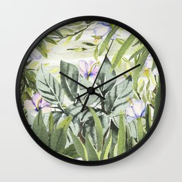 Tropical  lavender forest green watercolor floral Wall Clock